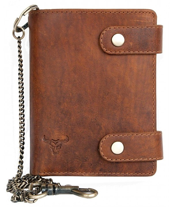 Genuine Leather Bikers Wallet Metal