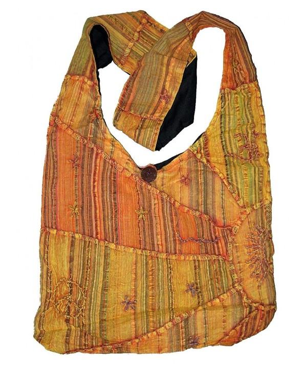 Orange Embroidered Peace Sunrise Handbag