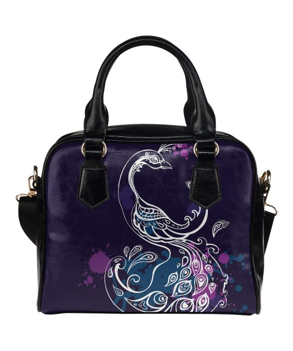 InterestPrint Peacock Leather Shoulder Handbag