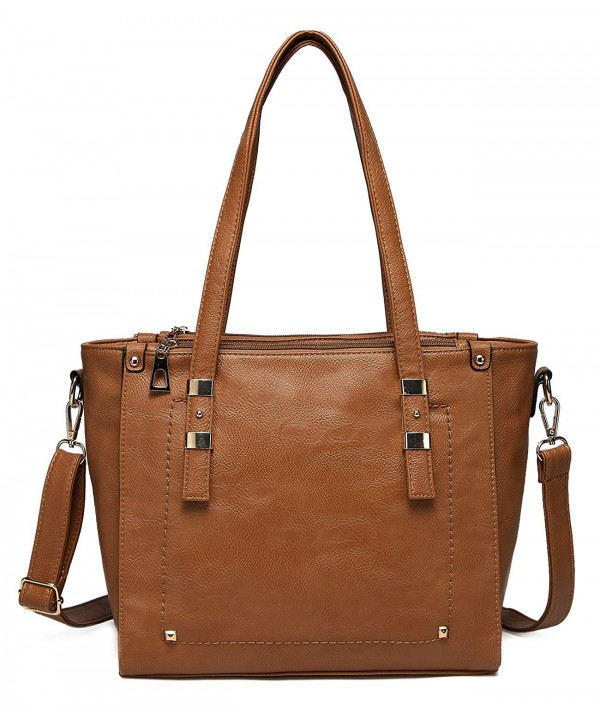 VASCHY Leather Compartment Satchel Handbag