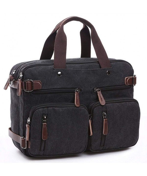 Laptop Hybrid Bag Briefcase Convertible Backpack Messenger Bag Waxed Canvas Leather Black Cf17yd0cc74