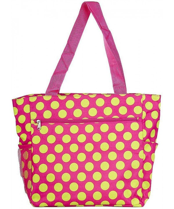 Polka Travel Tote Pink Green