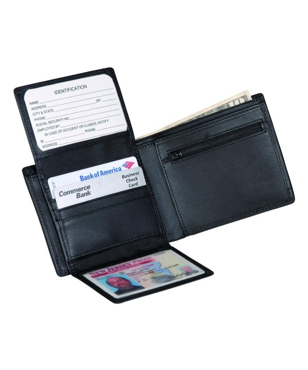 Royce Leather Bi Fold Zippered Compartment