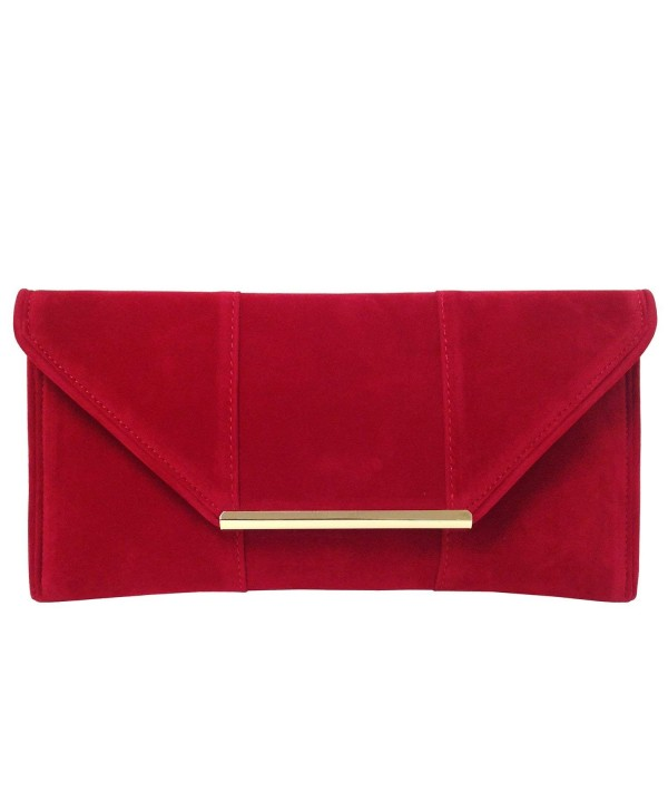 Faux Microsuede Envelope Clutch Red