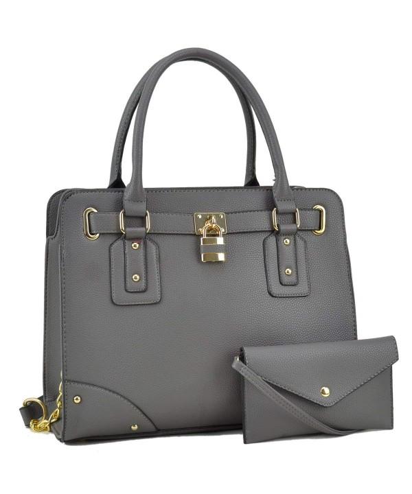 Structured Handbag Padlock Satchel Shoulder