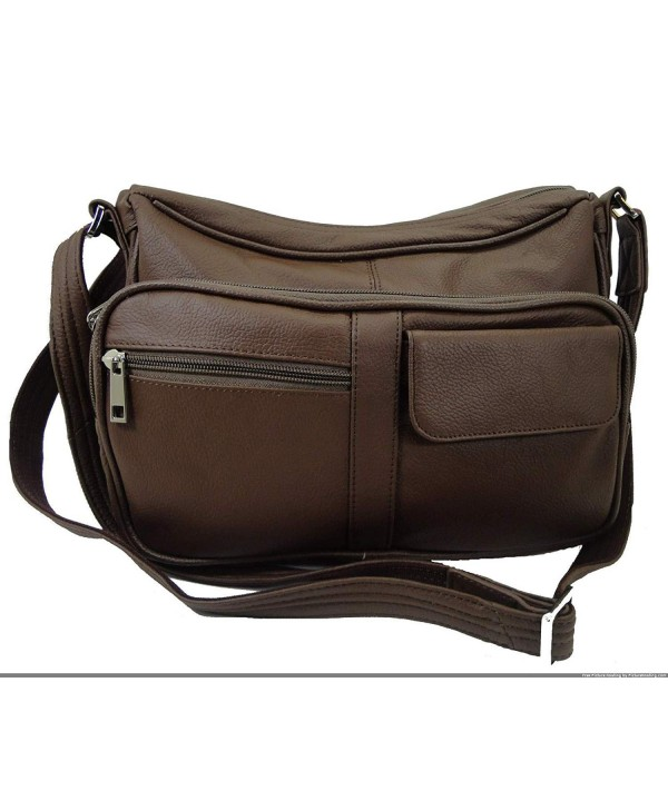 Concealed Leather Organizer Shoulder Strap brown