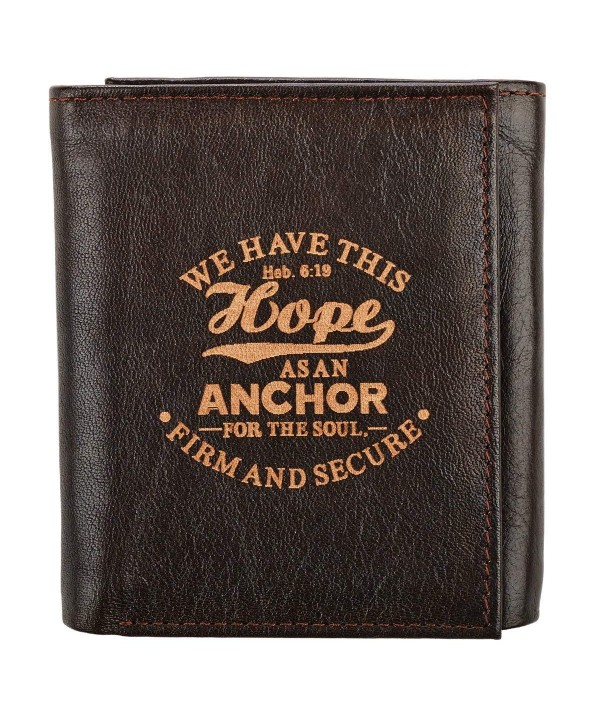 Genuine Leather Anchor Tri Fold Wallet