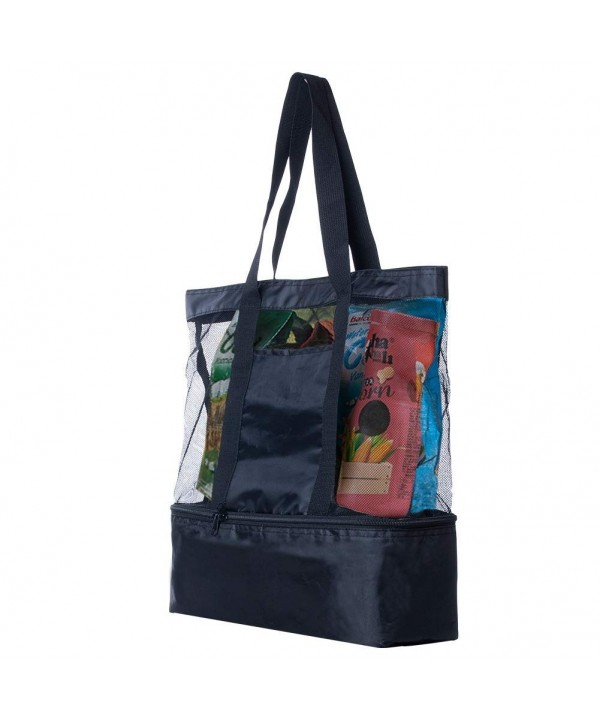 34fd6d1e16c8 Mesh Beach Tote Bag with Cooler 2 in 1 Muti-Function Black Insulated -  C118G8R7CTZ