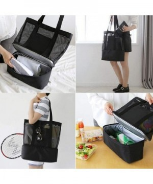 c105303f71f6 Mesh Beach Tote Bag with Cooler 2 in 1 Muti-Function Black Insulated -  C118G8R7CTZ