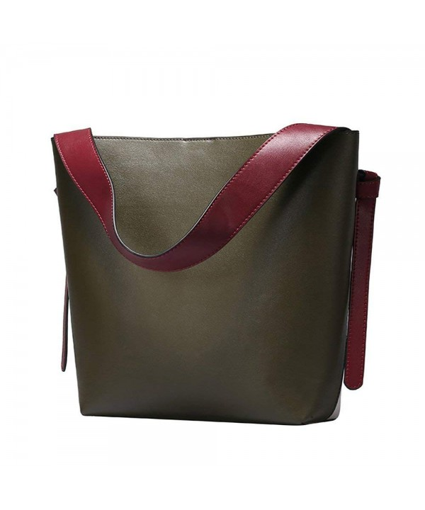 Womens Leather Shoulder Handbags Contrast