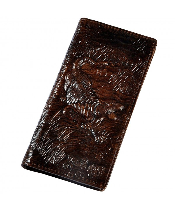 Leaokuu Leather Organizer Checkbook Tiger Coffee
