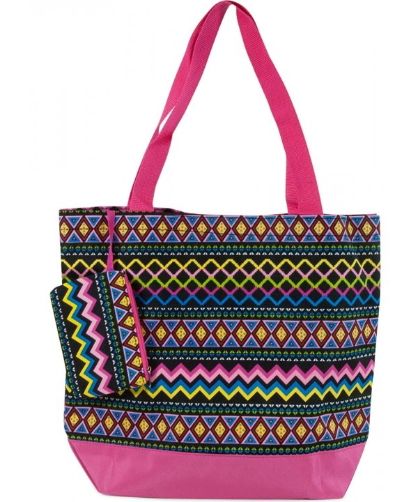 Ever Moda Aztec Tote Pink