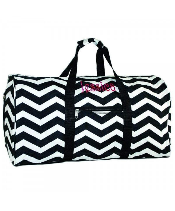 Personalized Black Chevron Duffle Inch