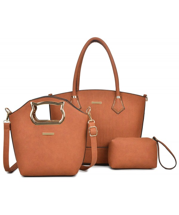 Handbag Leather Messenger Satchel Brown 3