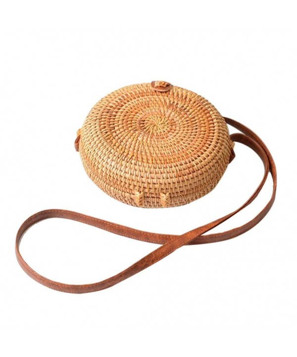 Leiyini Handmade Rattan Straw Woven Shoulder Round Cross body Bag Retro Vintage Fashionable Beach Bag Home Storage Bag