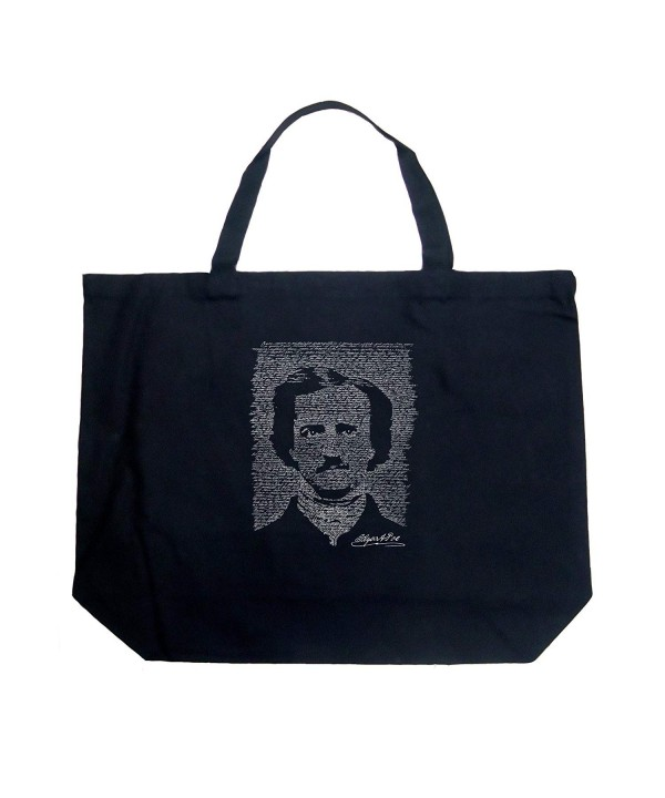 ebb94ac938 Word Art Large Tote Bag - Edgar Allen Poe - The Raven Black - Black ...