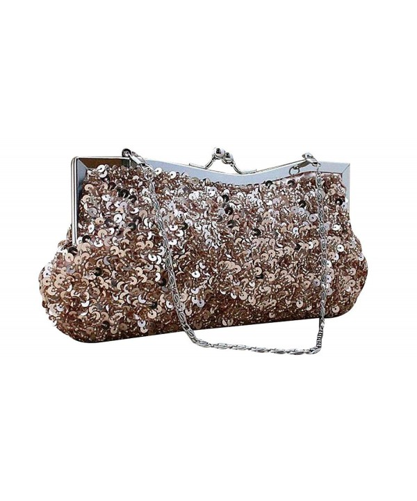 Sequined Baguette Handbags Detachable Champagne