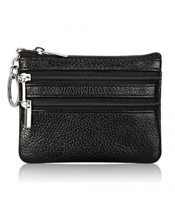 Leather Wallet Clutch Double Zipper