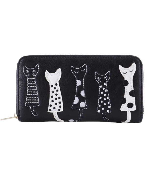 Womens Wallet Cartoon Embroidery Leather
