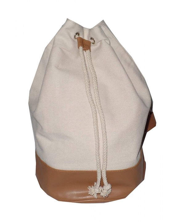 Shoulder Duffle Cotton Leather Natural