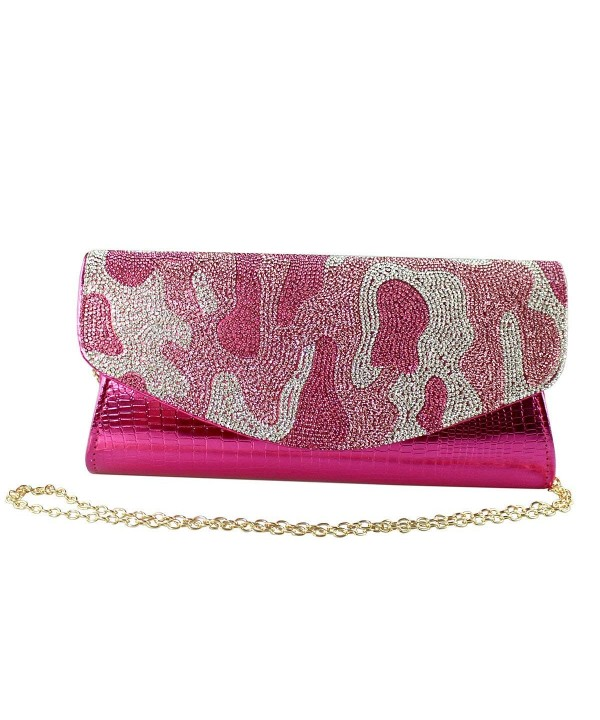 Camouflage Evening Clutch Hot Pink
