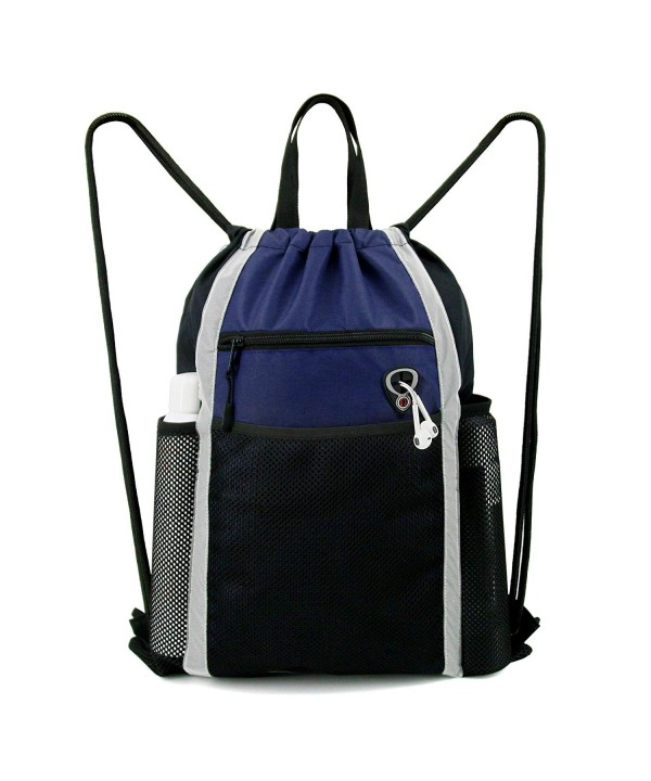 BeeGreen Drawstring Backpack Bag Sport String Bag Pockets Large Sackpack