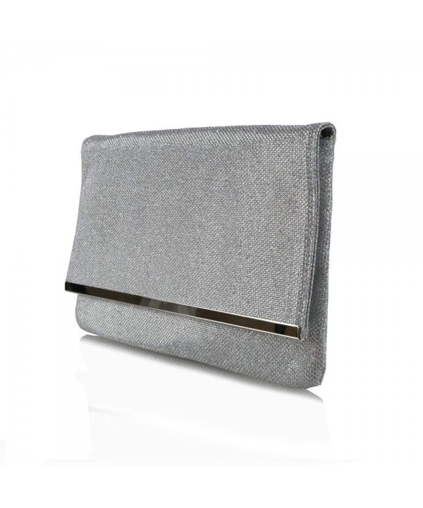 Womens Glitter Envelope Evening Handbag