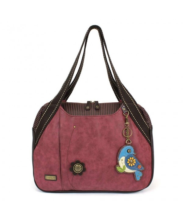 Chala Handbag Shoulder Animal Burgundy