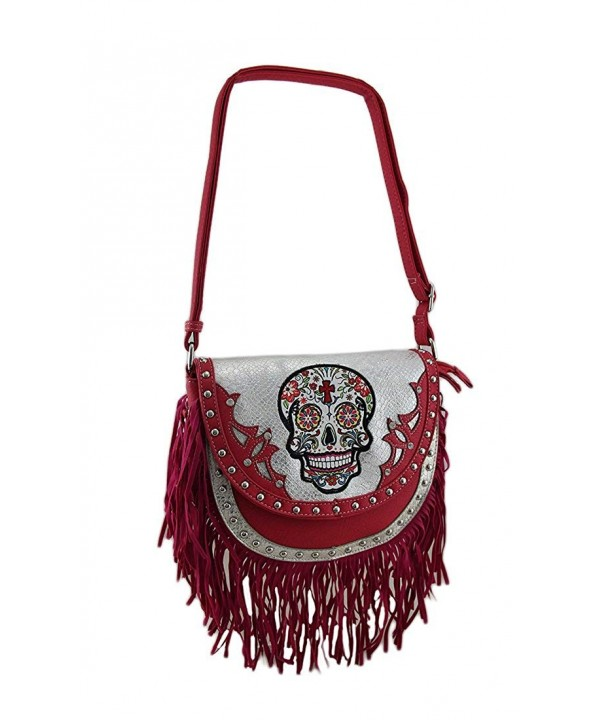 Fringed Western Metallic Crossbody Fuchsia