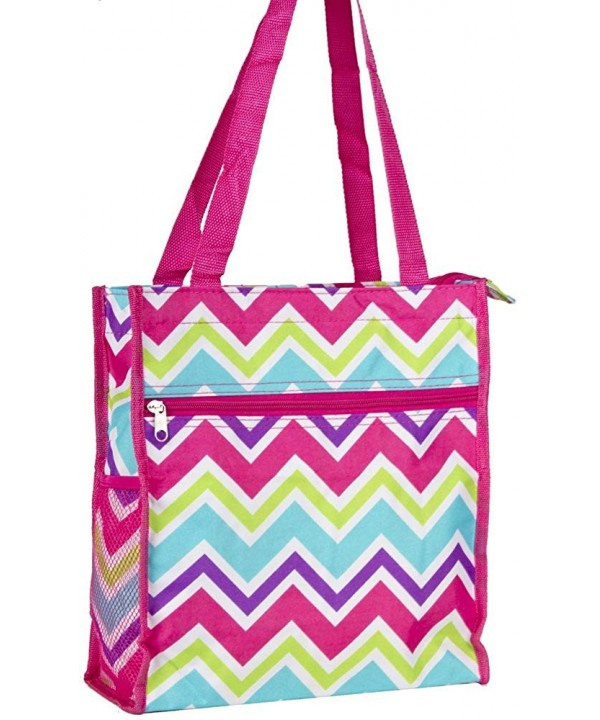 Multi color Chevron Tote Bag Pink