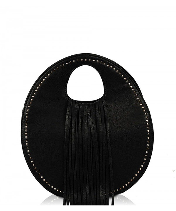 Sybil Fringe Handle Satchel Black