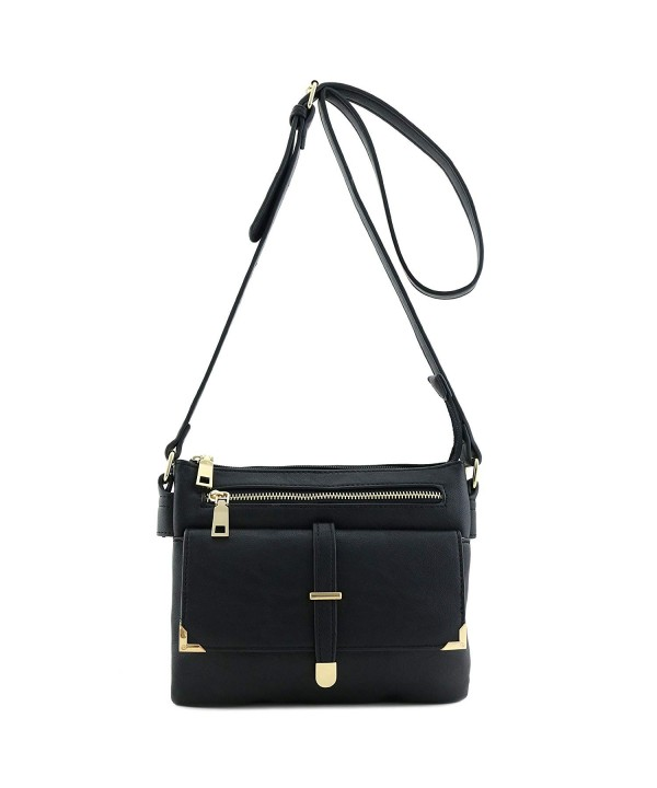 2efa711265 Double Compartment Flap Pocket Crossbody Bag - Black - C317Y0N0EUD