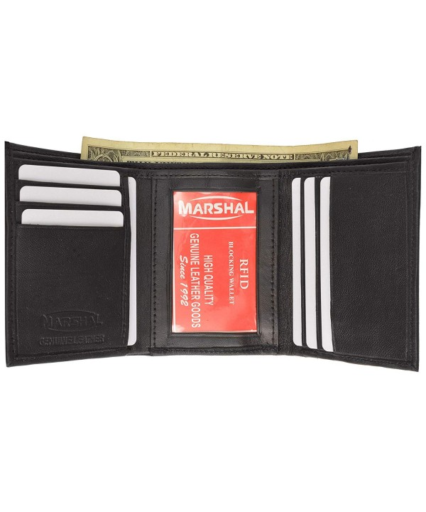 Blocking Leather Trifold Wallet Black