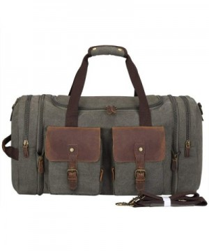 97f340ca3d Vintage Canvas Geniune Leather Trim Travel Tote Duffel Bag with Shoes Pouch  - Army Green - CZ1869D3MRY