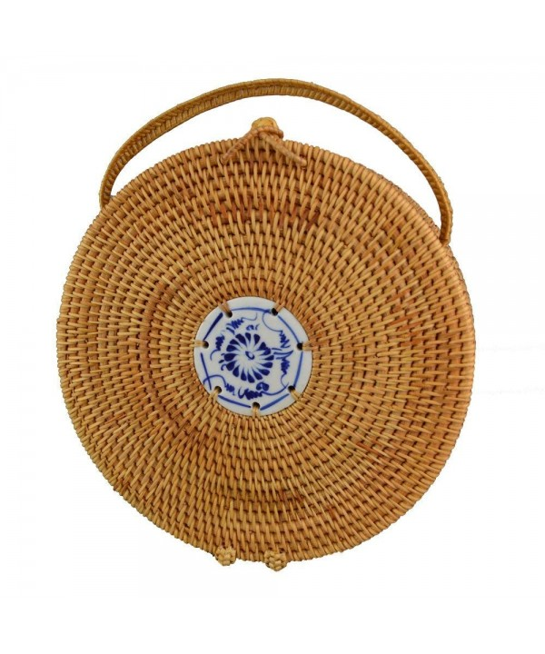 Rattan Handle Handbags Knitted Travel