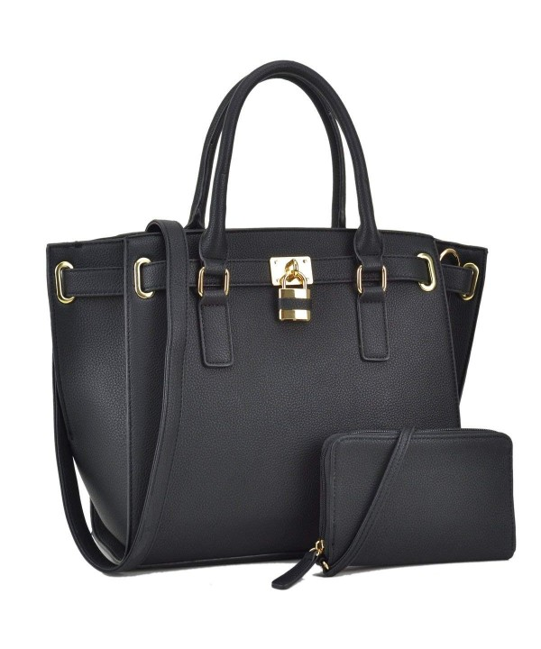 Leather Structured Shoulder Handbags Padlock