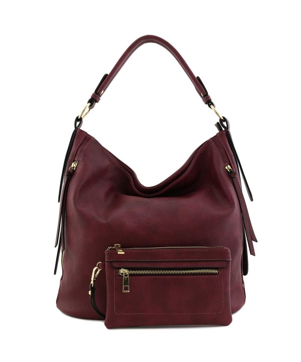 Leather Large Pouch Purse Burgundy