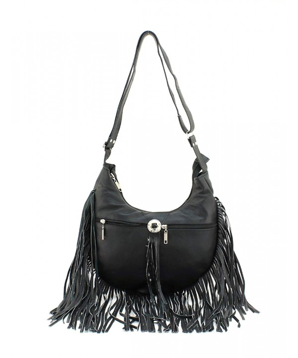 Fringe Messenger Hobo Bag Black
