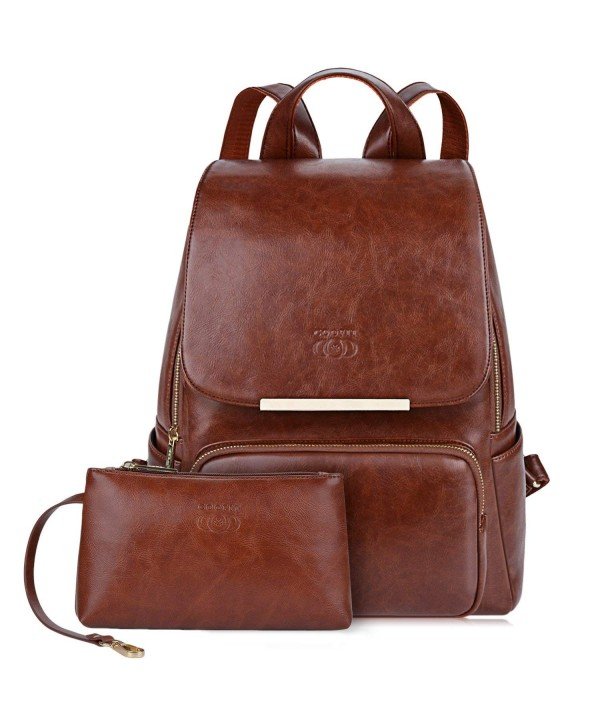 COOFIT Leather Backpack College Backpacks
