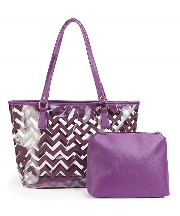 Chevron Stripe Shoulder Handbag Interior