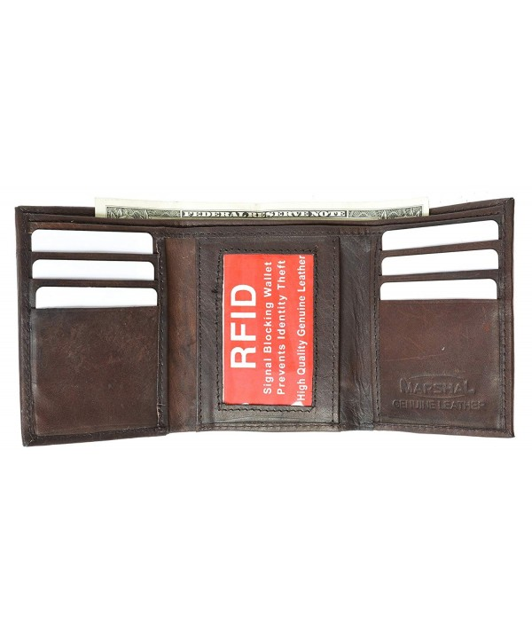 Trifold Leather Wallet Blocking Marshal