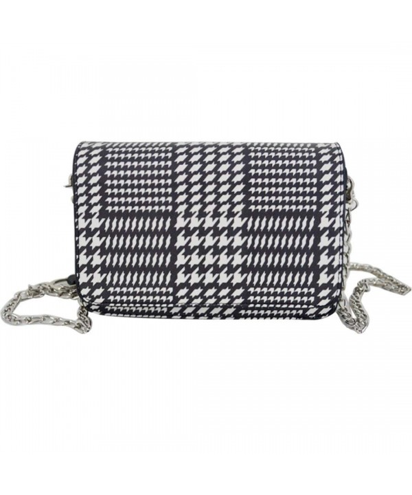 Aisa Vintage Houndstooth Leather Shoulder