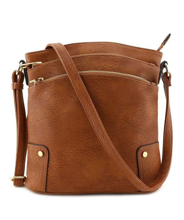 Triple Pocket Large Crossbody Brown