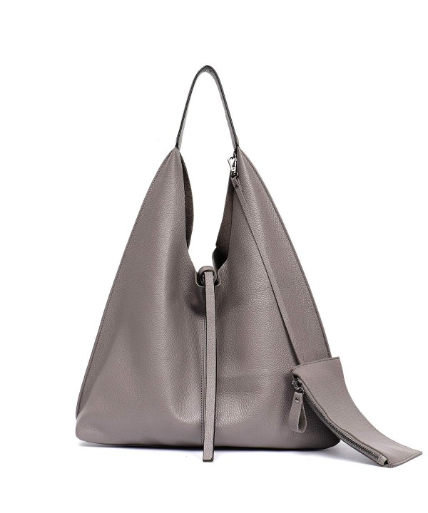 d861e93d4dc0 Women Genuine Leather Shoulder Bag Slouchy Hobo Casual Soft Tote Ladies  Vintage Bag - Grey - CA18EZNSZXI