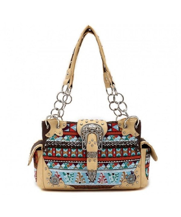 Western Buckle Shoulder Handbag NATURAL