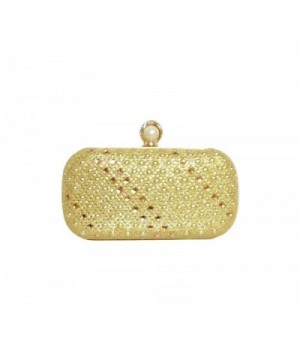 Rhinestone Metallic Clutch 7 inch Golden