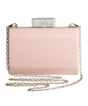 RiscaWin RiscaWin Womens Classic Evening Hard Case Leather Cluth Bags Party Handbag with Detachable Chain CC Lightsalmon