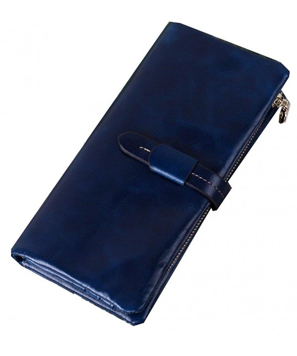 Leather Wallets Zippered Closure Sapphire