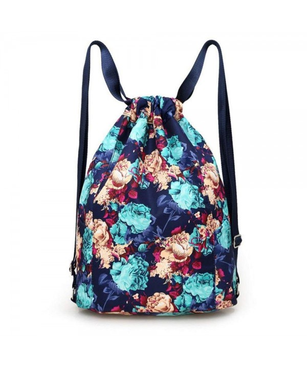 Drawstring Backpack Flowers String Bottle