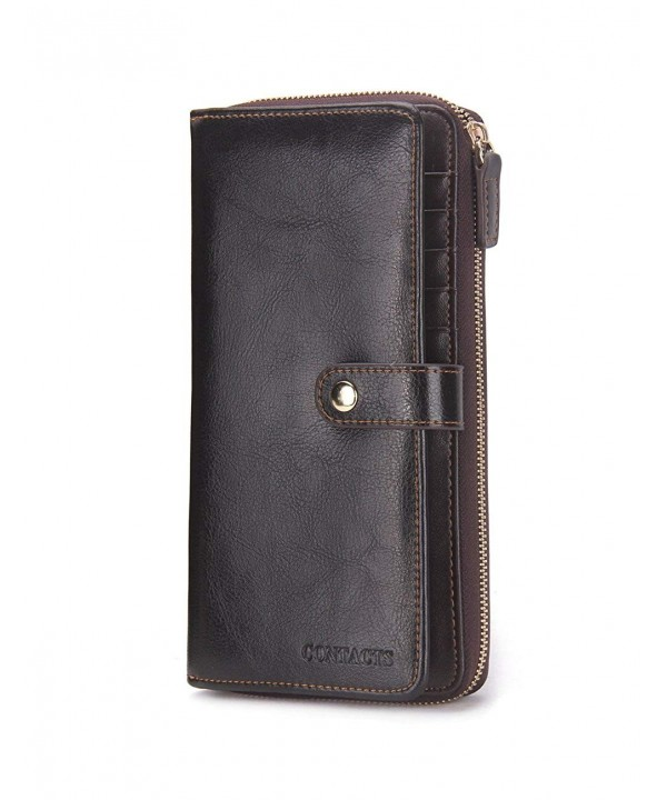 Contacts Genuine Leather Clutch Zipper